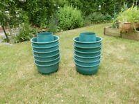 12 Green Plastic Growbag Pots