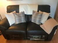 Brown leather reclining sofas 2 and 3 seater
