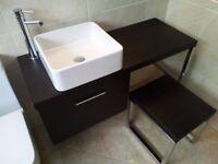 Dansani Calidris 1140mm Vanity Worktop, Unit, Stool + Flaminia Basin & Mixer Tap