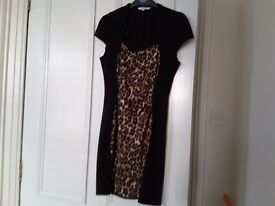 New look size 12 leopard and black dress