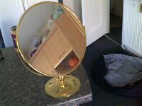 VINTAGE BRASS DOUBLE SIDED MIRROR WITH VARYING MAGNIFICATION