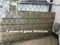 Glass window panes diamond lead