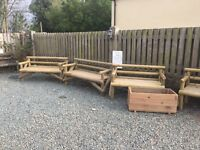 Garden benches and planters