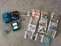 Nintendo 3DS Aqua Blue + accessories + 22 games!