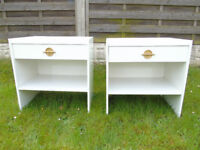Bedside cabinets / drawers - set of two in white