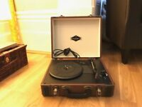 Retro brown suitcase USB record player with in-built speakers