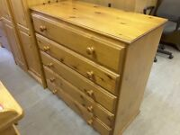 20% OFF ALL ITEMS SALE - Large Pine Chest With 5 Drawers - Can Deliver For £19