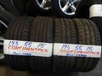 MATCHING SET 195 55 15 CONTIS 7MM TREAD £20 EACH SUP & FITD £70 SET OF 4 (loads more av} TXT S