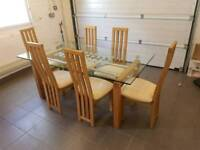 Solid oak and glass dining table and chairs, ex John Lewis