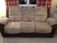 Brown/beige 3 + 2 recliner sofas