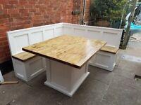 New Dining Set L Shape 2 x monk benches 180cm x 180cm Farmhouse Table 140cmx112c