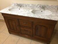 Quartz / marble topped jack and jill bathrom sink vanity unit