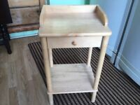 Pine side table with draw