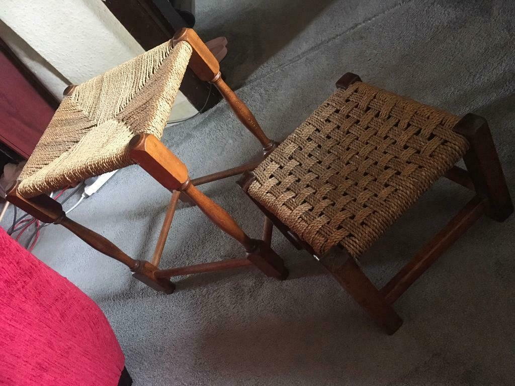 2x Wooden Shorts Chairs Straw Vintage 15 In Leicester Leicestershire Gumtree