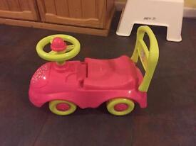 Pink push along car