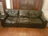 Black leather 3 seat sofa and armchair