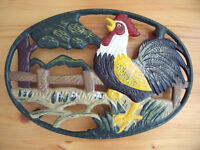 Large, heavy, cast iron, brightly coloured, cockerel design trivet, pot stand, worktop protector.