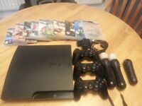 PS3 Console 500GB, controllers and games (on disc)