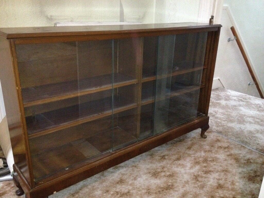 Mahogany glass door bookcase