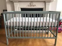 Baby cot, mattress, fitted sheet and blanket (NEVER USED).