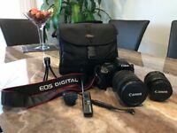 Canon EOS 450D. 2x Canon lenses. 18-55 and 18-200. Pro remote and mini tripod. 8GB card. Bag inc.