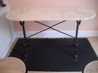Marble Effect Dining Table with wrought iron frame and 4 chairs