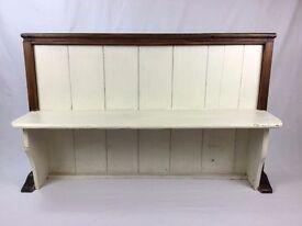 Antique Oak Church Pew - Shabby Chic Hall Bench