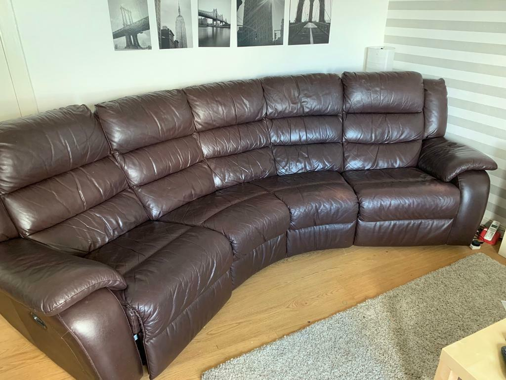 Superb 4 Seater Curved Recliner Leather Sofa 100 Ovno In Barrhead Glasgow Gumtree Interior Design Ideas Inamawefileorg