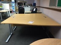 Wave Desk, Finished In Beech. 1600mm Width x 1000-800mm Depth. 1 Left-Hand In Stock!