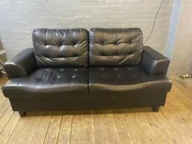 HARVEYS BLACK LEATHER SOFA IN EXCELLENT CONDITION