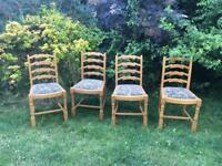 4 CHAIRS - VINTAGE LADDER BACK CHAIRS LIGHT OAK PADDED SEATS-UPCYCLE PROJECT. SHABBY CHIC FURNITURE