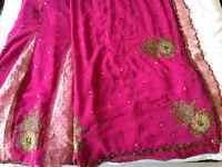 Beautiful Brand New Chiffon Dark Pink Sari - Indian Wedding