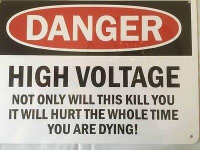 "DANGER High Voltage 10x14"" Aluminum Sign"