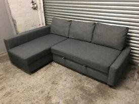 FREE DELIVERY IKEA FRIHETEN GREY CORNER SOFA BED WITH STORAGE