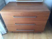 Large Brown Dresser/ Drawers - 3 Drawers