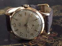 vintage 9k 9ct solid gold Avia mens watch