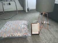 Rose gold home accessories: rose gold and grey lamp, cushion & photo frame bundle