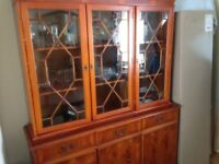 YEW SIDEBOARD WITH GLASS DOORED TOP
