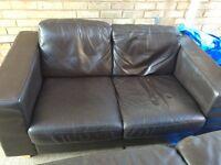 X2 John Lewis Leather Sofas (2 seater, chocolate brown)