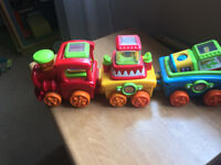 Fisher Price Peek-A-Boo Train, Elephant and Giraff and Blocks, Music and Moving Parts with Lights