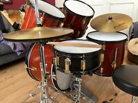 Drum Kit Red Pearl Sparkle, Sticks, Cymbals, Tuned.