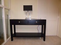 Console Table - black wood, nickel plated beehive handles (two available)