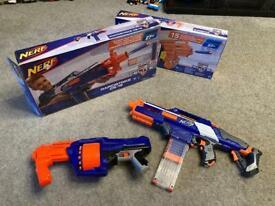 2 Nerf Guns (Rapidstrike CS-18 and N-Strike Surgefire) with Boxes - VGC