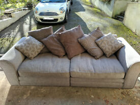 Fabric sofas with cushions