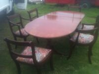 1930's/40's dining table restoration project and 6 chairs