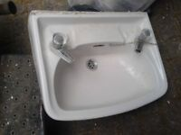 """BATHROOM WASHROM WATER CLOSET PORCELAIN SINK WITH BRASS TAPS, 20"""" APPROX"""