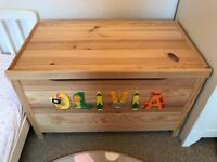 Wooden toy box personalised OLIVIA