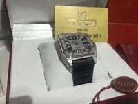MENS CARTIER SANTOS 100 XL ICED OUT DIAMOMD WATCH NEW WITH BOX PAPERS TAGS