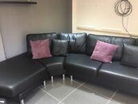 Domo leather handmade black corner sofa