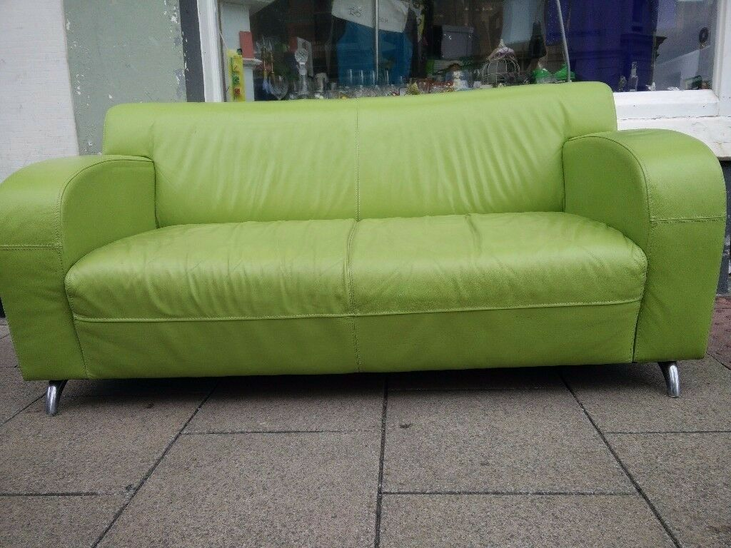 Retro Art Deco Lime Green Napa Leather Sofa In Brighton East Sussex Gumtree
